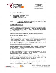 Avançament de Normativa per a la inscripció dels equips (temporada 2018-2019)
