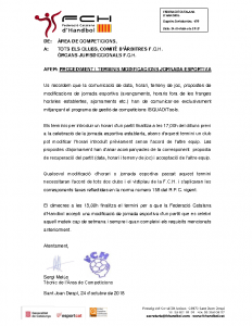 Procediment i terminis modificacions jornada esportiva (25-10-18)