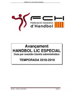 Handbol·lic Especial 2018-2019 (Guia per resoldre tràmits administratius)