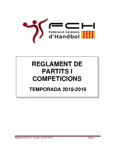 Reglament de Partits i Competicions 2018-2019