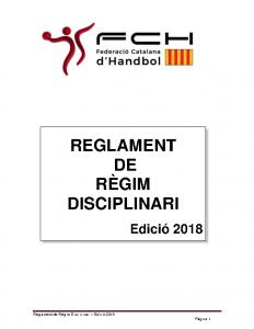 Reglament de Règim Disciplinari 2018 – 2019
