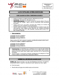 Fase prèvia i Fase Classificatòria Lliga Catalana Juvenil Masculina
