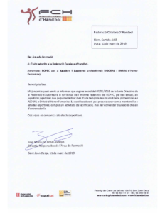 Carta Informativa ROPEC Jugadors ASOBAL i jugadores DHF