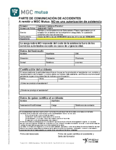 COMUNICACIÓ D'ACCIDENT HANDBOL PLATJA 2019