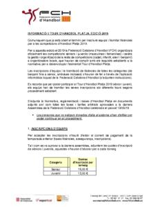 INFORMACIÓ HANDBOL PLATJA 2019