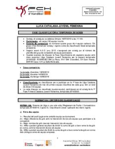 Fase Classificatòria Lliga Catalana Juvenil Femenina