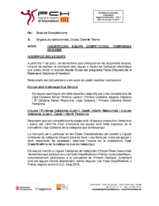 Inscripcions equips competició – Temporada 2019-2020
