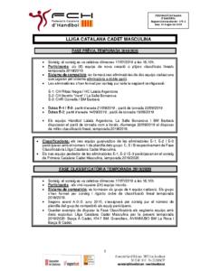 Fase Prèvia i Fase Classificatòria Lliga Catalana Cadet Masculina