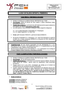 Fase Prèvia i Fase Classificatòria Lliga Catalana Infantil Femenina