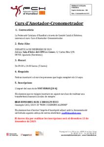 Informació Curs d'Anotador/a i Cronometrador/a a Igualada