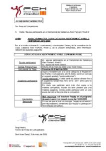 Avançament Normativa Copa Catalana Aleví Femení  Nivell 2