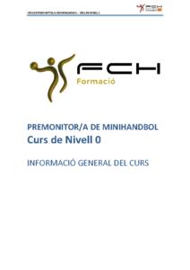 Informació General sobre el Curs de Nivell 0 – Premonitor/a Català d'Handbol – ON LINE