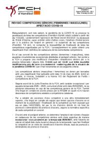 Revisió competicions sèniors afectades per la COVID-19