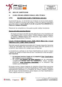 Inscripcions equips Temporada 20/21