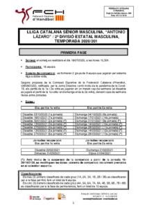 """Lliga Catalana Sènior Masculina,""""ANTONIO LÁZARO"""" / 2a Divisió Estatal Masculina"""